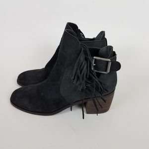Lucky Brand Makenna Black Fringe Ankle Booties